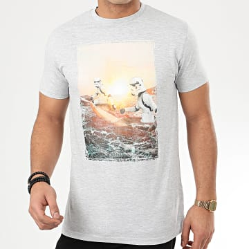Star Wars - Tee Shirt Trooper Surf Holiday Gris Chiné