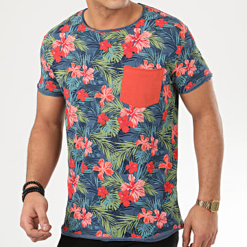 Tee Shirt Poche H12021Z21211A Bleu Marine Floral