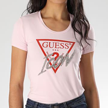 Tee Shirt Femme A Strass W0GI08-J1300 Rose