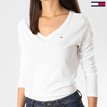 Tommy Hilfiger - Tee Shirt Manches Longues Femme Col V Soft Jersey 8297 Blanc