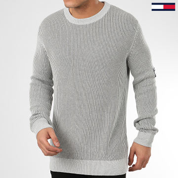 Pull Textured Badge 7948 Gris Chiné