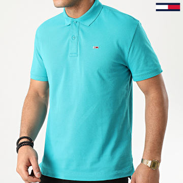 Tommy Jeans - Polo Manches Courtes Classics Solid Stretch 7196 Bleu Turquoise