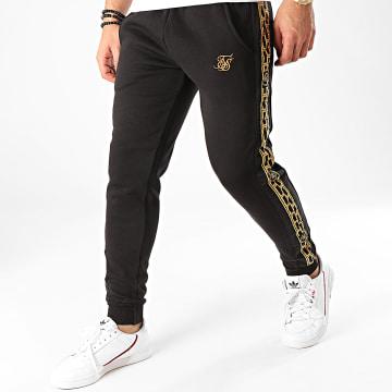 SikSilk - Pantalon Jogging A Bandes Muscle Fit Nylon Panel 15432 Noir Doré