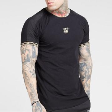 Tee Shirt A Bandes Raglan Straight Hem Tape Gym 15788 Noir Doré