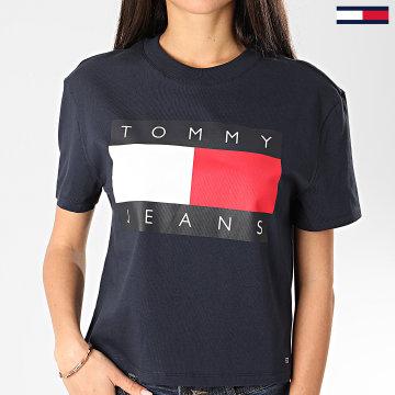 Tommy Jeans - Tee Shirt Femme Tommy Flag 7153 Bleu Marine