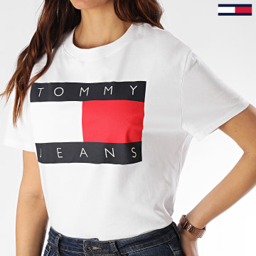 Tommy Jeans - Tee Shirt Femme Tommy Flag 7153 Blanc