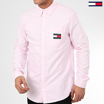 Tommy Jeans - Chemise Manches Longues Oxford Badge 7895 Rose