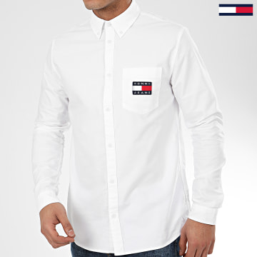 Tommy Jeans - Chemise Manches Longues Oxford Badge 7895 Blanc