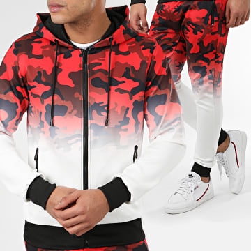 Zayne Paris  - Ensemble De Survêtement Camouflage E63-2 Blanc Rouge