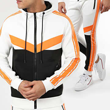 Zayne Paris  - Ensemble De Survêtement A Bandes E78-3 Blanc Noir Orange