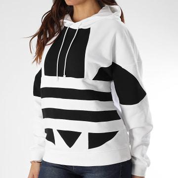 Adidas Originals - Sweat Capuche Femme Large Logo FS1306 Blanc Noir
