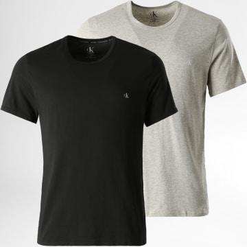 Calvin Klein - Lot De 2 Tee Shirts NB2221A Noir Gris Chiné