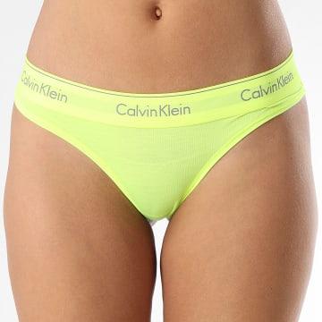 Calvin Klein - String Femme QF1672E Jaune Fluo