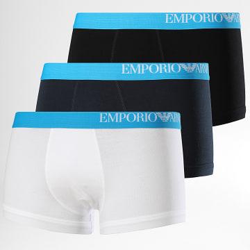 Emporio Armani - Lot De 3 Boxers 111357-CS713 Noir Blanc Bleu Marine