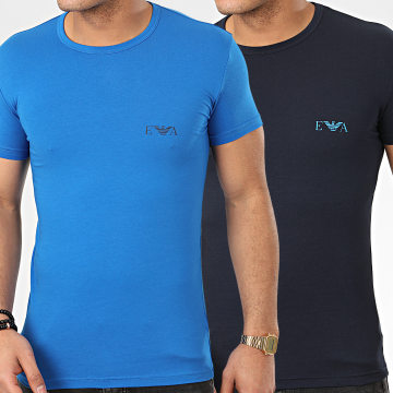 Lot De 2 Tee Shirts Slim 111670-0P715 Bleu Marine Bleu Clair