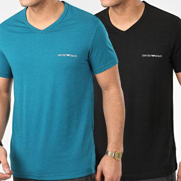 Lot De 2 Tee Shirts Col V 111849-0P717 Noir Turquoise