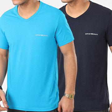 Lot De 2 Tee Shirts Col V 111849-0P717 Bleu Marine Bleu Clair