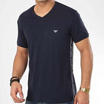 Tee Shirt Slim Col V A Bandes 111889-0P717 Bleu Marine