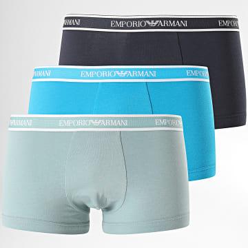 Emporio Armani - Lot De 3 Boxers 111357-0P717 Bleu Marine Bleu Clair