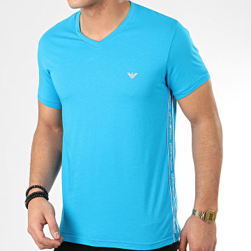 Tee Shirt Slim Col V A Bandes 111889-0P717 Bleu Clair