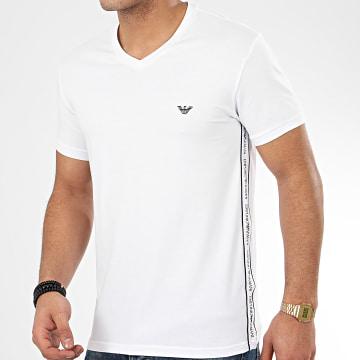 Tee Shirt Slim Col V A Bandes 111889-0P717 Blanc