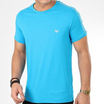 Tee Shirt Slim A Bandes 111890-0P717 Bleu Clair