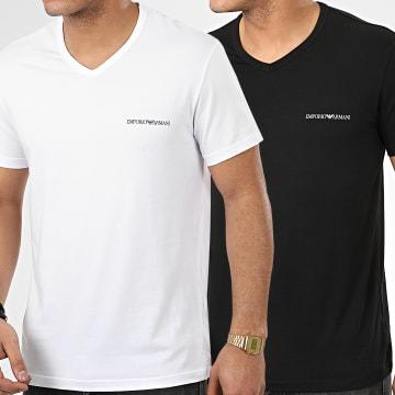 Emporio Armani - Lot De 2 Tee Shirts Col V 111849-0P717 Blanc Noir