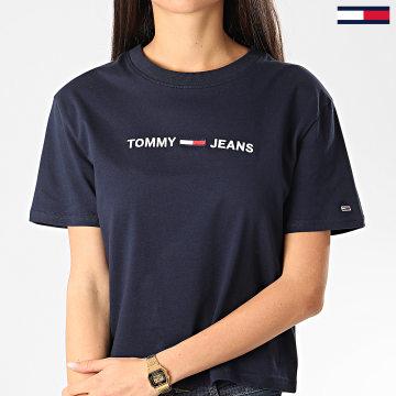 Tommy Jeans - Tee Shirt Femme Modern Linear Logo 8062 Bleu Marine