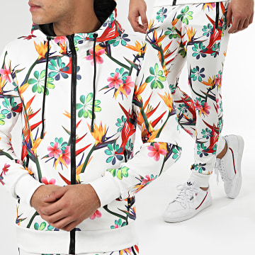 Zayne Paris  - Ensemble De Survêtement Floral E93-2 Blanc