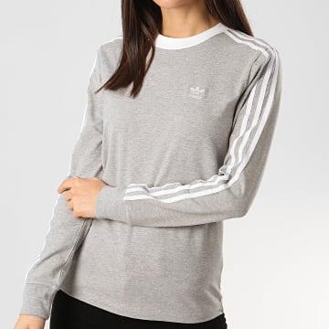 Adidas Originals - Sweat Crewneck Femme A Bandes Stripes FM3303 Gris Chiné