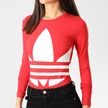 Adidas Originals - Body Manches Longues Femme Logo FM7181 Rouge
