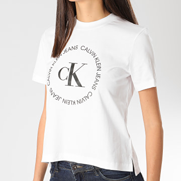 Calvin Klein - Tee Shirt Femme Round Logo 3544 Blanc