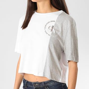 Calvin Klein - Tee Shirt Femme CK Round Logo Blocked 3546 Blanc Gris Chiné Argenté