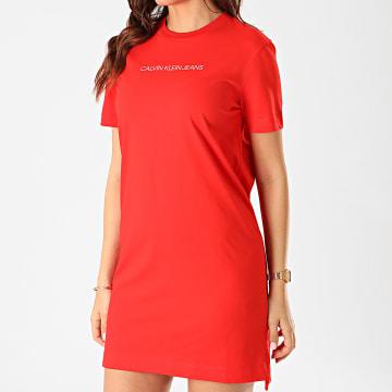 Calvin Klein - Robe Tee Shirt Femme Institutional 3702 Rouge