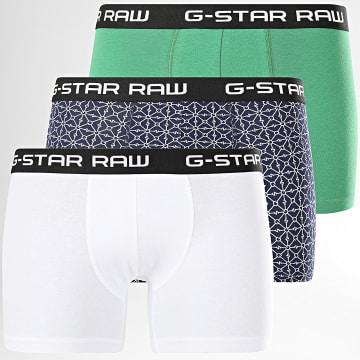 G-Star - Lot De 3 Boxers D16728-C237 Blanc Vert Bleu