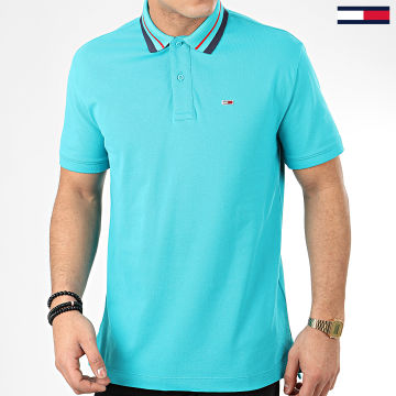 Tommy Jeans - Polo Manches Courtes Classics Tipped 7195 Bleu Turquoise