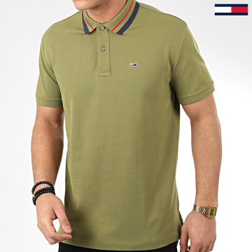 Tommy Jeans - Polo Manches Courtes Classics Tipped 7195 Vert Kaki
