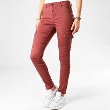 Vero Moda - Pantalon Cargo Slim Femme Hot Seven Bordeaux