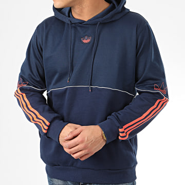 Sweat Capuche A Bandes Outline FM3917 Bleu Marine