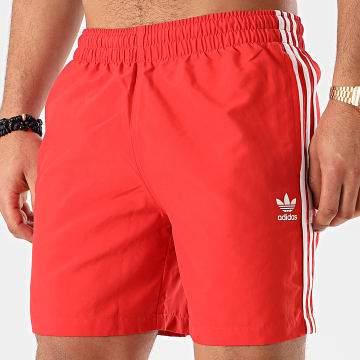 Short De Bain A Bandes 3 Stripes FM9876 Rouge