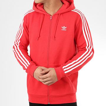 Sweat Zippé Capuche A Bandes 3 Stripes FZ FM3764 Rouge
