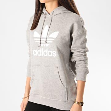 Adidas Originals - Sweat Capuche Femme Trefoil FM3304 Gris Chiné