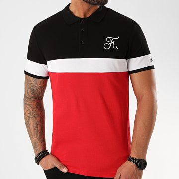 Final Club - Polo Tricolore Avec Broderie 351 Rouge Noir Blanc