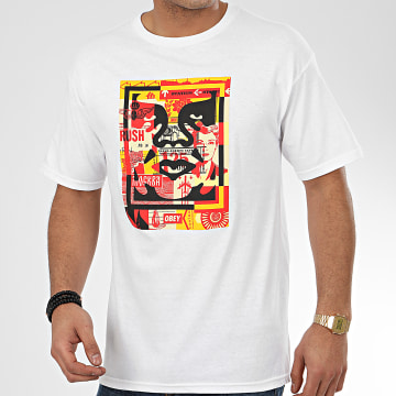 Tee Shirt 3 Face Collage Blanc