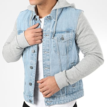 Only And Sons - Veste En Jean A Capuche Coin Hood Trucker 22015727 Bleu Denim Gris Chiné