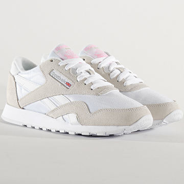Reebok - Baskets Femme Classic Leather Nylon FV4507 White Light Grey