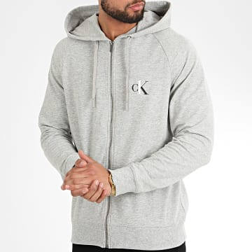 Sweat Zippé Capuche NM1865E Gris Chiné