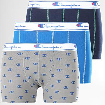 Lot De 3 Boxers Y081W Bleu Marine Bleu Clair Gris
