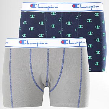 Champion - Lot De 2 Boxers Y081W Gris Bleu Marine