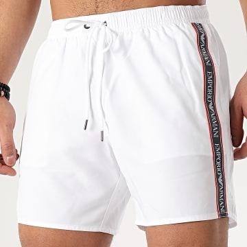 Emporio Armani - Short De Bain A Bandes 211740_0P443 Blanc